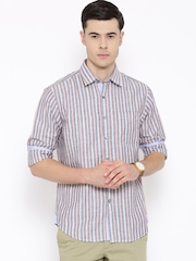 Wills Lifestyle Navy Striped Slim Casual Shirt