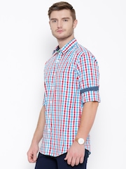 Wills Lifestyle Blue Checked Slim Fit Casual Shirt