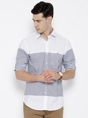 Wills Lifestyle White Striped Slim Casual Shirt