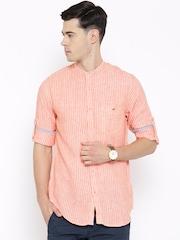 Wills Lifestyle Orange Linen Striped Slim Casual Shirt