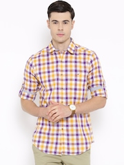 Wills Lifestyle Purple & Yellow Checked Slim Casual Shirt