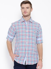 Wills Lifestyle Multicoloured Linen Blend Checked Slim Casual Shirt