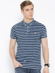 Numero Uno Blue Striped Washed Polo T-shirt