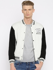HRX by Hrithik Roshan Grey Melange & Black Colourblocked Hooded Varsity Jacket