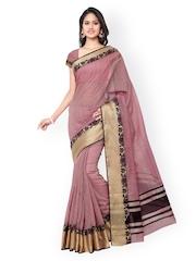 Inddus Purple Banarasi Cotton & Art Silk Traditional Saree
