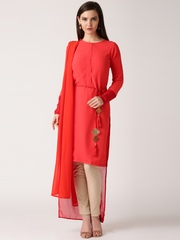 IndusDiva by Nikhil Thampi Red Georgette Kurta with Dupatta
