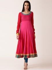 IndusDiva by Priyadarshini Rao Pink & Red Anarkali Kurta