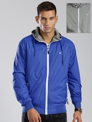 HRX by Hrithik Roshan Blue & Grey Melange Reversible Hooded Jacket