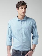 Mast & Harbour Men Blue Regular Fit Solid Casual Shirt