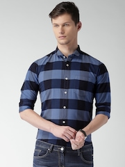 Mast & Harbour Men Blue Checked Casual Shirt