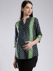 W Navy Printed Maternity High-Low Kurti