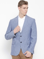 Peter England Blue Single-Breasted Casual Blazer