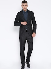 Peter England Black Euro Fit Single-Breasted Suit