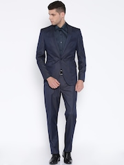 Peter England Navy Euro Fit Single-Breasted Suit