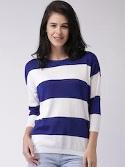 Moda Rapido White & Blue Striped Top