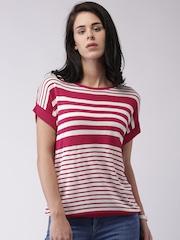 Moda Rapido White & Pink Striped Top