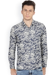 IVOC Blue Floral Print Slim Fit Denim Casual Shirt