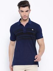 FILA Navy & Black Striped Polo T-shirt