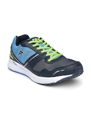FILA Men Blue & Neon Green Taper Speed Running Shoes