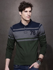 Roadster Men Navy Blue Colour Blocked Polo Collar T-Shirt