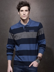 Roadster Men Teal Striped Polo Collar T-Shirt