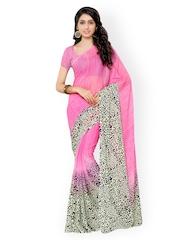 Suvastram Pink Chiffon Printed Saree