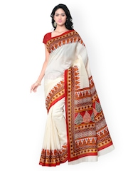 Saree mall Cream-Coloured Printed Bhagalpuri Art Silk Traditional Saree