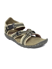 Woodland ProPlanet Men Beige & Olive Green Leather Sandals
