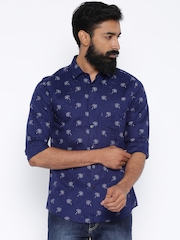 Black Coffee Navy Printed Linen Slim Casual Shirt