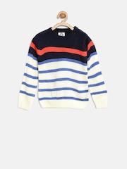 YK Boys Off-White Striped Sweater