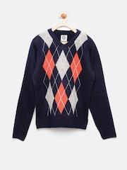 YK Boys Navy Blue & Grey Self-Designed Sweater