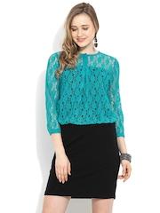 Trend Arrest Green & Black Lace Blouson Dress