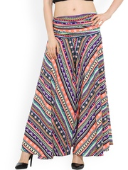 Trend Arrest Multicoloured Printed Polyester Palazzo Trousers
