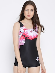 Heart 2 Heart Black Floral Print Swimwear SW9015