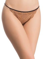 Clovia Beige & Black Lace Bikini Briefs PN0549P13