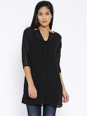 Fusion Beats Black Polyester Sheer Tunic