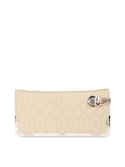 Carry On Beige Quilted Clutch