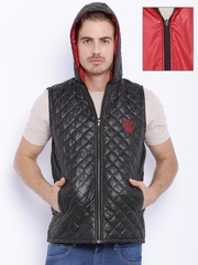Sports52 wear Black & Red Hooded Reversible Sleeveless Quilted Jacket