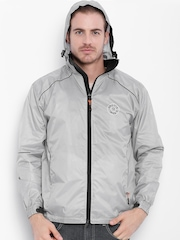 Sports52 wear Grey Comfort Fit Hooded Rain Jacket