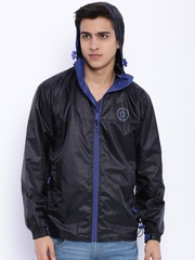 Sports52 wear Black Printed Hooded Rain Jacket