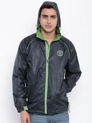 Sports52 wear Navy Printed Hooded Rain Jacket
