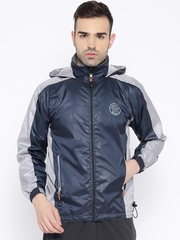 Sports52 wear Navy & Grey Printed Hooded Rain Jacket