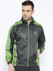Sports52 wear Charcoal Grey & Green Printed Hooded Rain Jacket