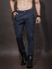 Roadster Men Navy Solid Regular Fit Chinos
