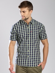 Levi's Navy & Yellow Checked Slim Casual Shirt
