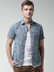 Celio Blue Floral Print Denim Shirt