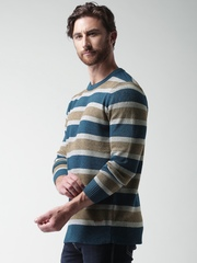 Mast & Harbour Teal Blue & Grey Striped Sweater