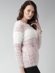 Mast & Harbour White & Red Patterned Faux Fur Sweater