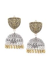 Rubans Silver & Gold-Toned Jhumka Earrings