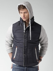 Mast & Harbour Grey Melange & Blue Colourblock Jacket with Detachable Hood